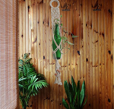 Macrame Bottle Indoor Outdoor Plant Holder Handmade By Women Artisans
