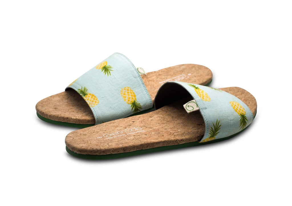 Greensole Light Pineapple Print Recycled Slippers (Men)