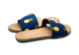 Greensole Dark Pineapple Print Recycled Slippers (Men)