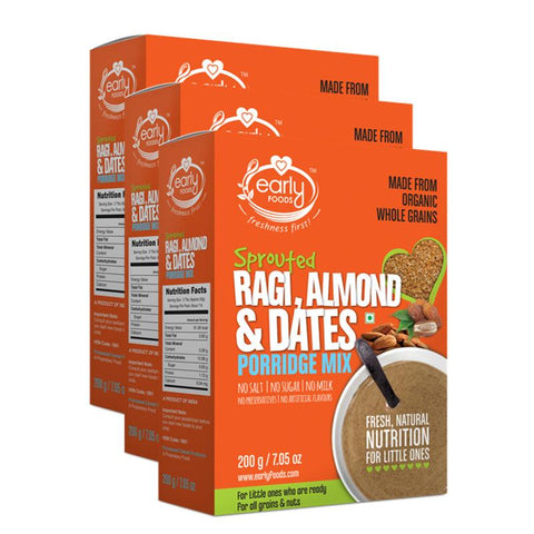 Sprouted Ragi Almond & Date Porridge Mix (Pack of 3), 200g each