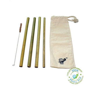 Pack of 4 Reusable Bamboo Straws with Free Straw Cleaner