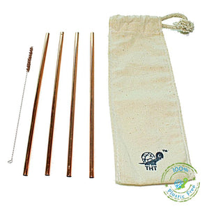 Pack of 4 Reusable Copper Straws with Free Straw Cleaner