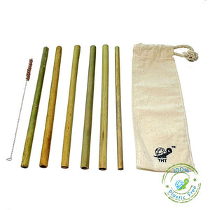 Pack of 6 Reusable Bamboo Straws with Free Straw Cleaner