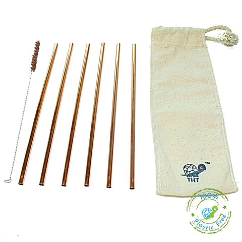 Pack of 6 Reusable Copper Straws with Free Straw Cleaner