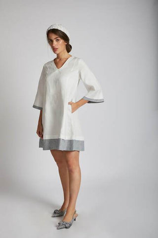 Women's Natural Hemp Panelled Flared Dress - White