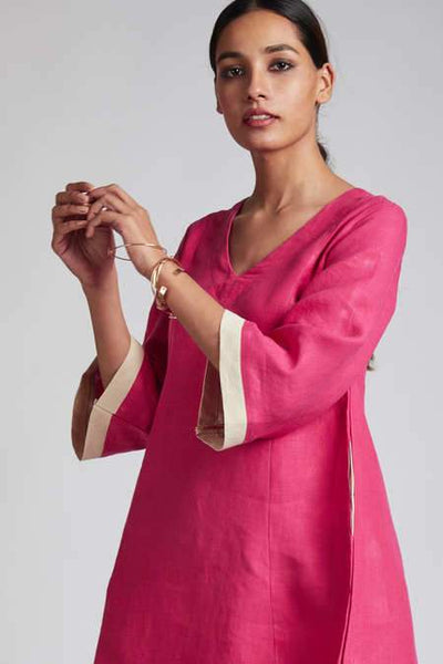 Women's Natural Hemp Panelled Flared Dress - Hot Pink