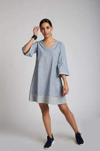 Women's Natural Hemp Panelled Flared Dress - Blue Melange