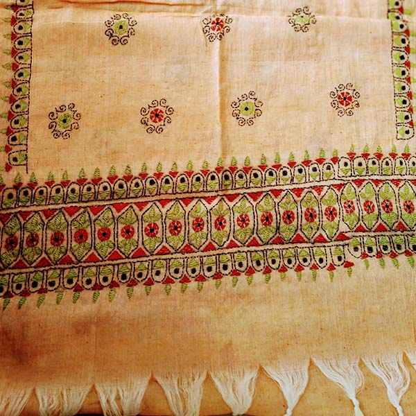 Peach Silk Cotton Kantha work Stole