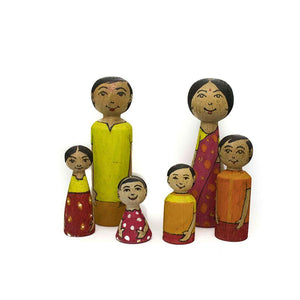 Handcarved Wooden Peg Dolls - Set of 6, Coloured