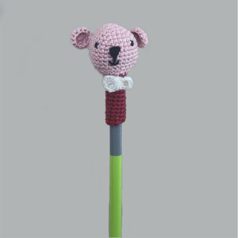 Handcrafted Crochet Bear Pencil Topper -Set of 3