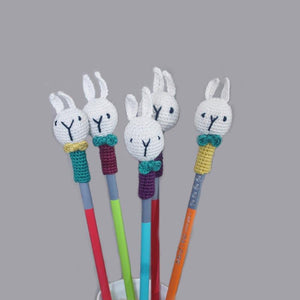 Handcrafted Crochet Rabbit Pencil Topper - Set of 3