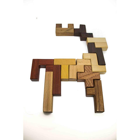 Handcarved Wooden Pentomino Jigsaw Puzzle (12 pieces)