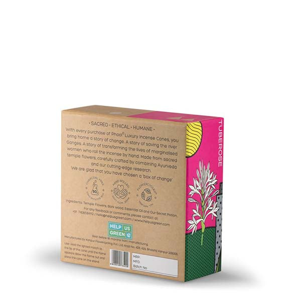 Phool Organic Incense Cones made from Temple Flowers (40 Cones) by HelpUsGreen