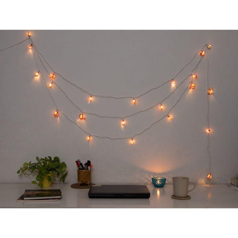 Handmade Crochet String Lights - Pink Petals