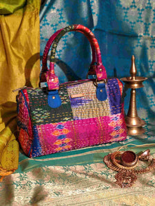 Handwoven Ikat and Kantha Duffle Bag in Pink Silk