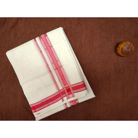 Premium Dhoti Handcrafted by Traditional Weavers of Chennimalai village - Half White