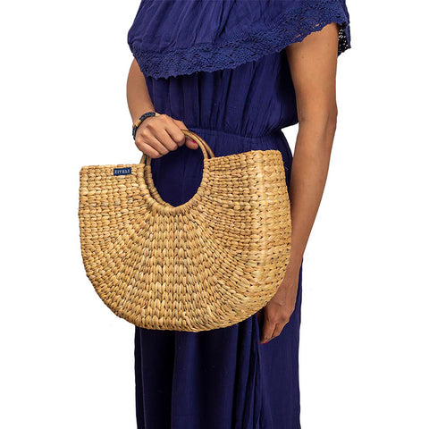 Handcrafted Kauna Reed Hobo Bag created by Manipuri Women Artisans
