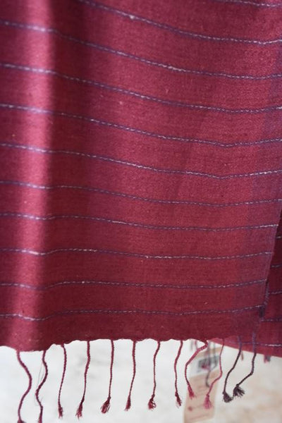 4222fc6dc Handwoven, Naturally Dyed Pure Silk Shawl - Pink With White Stripes ...