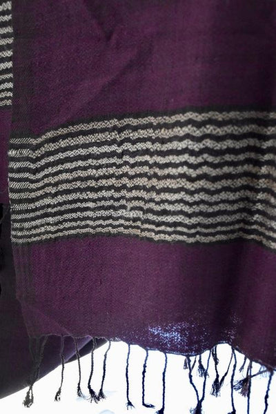 Handwoven, Naturally Dyed Pure Silk Shawl - Purple with Cream Striped Border