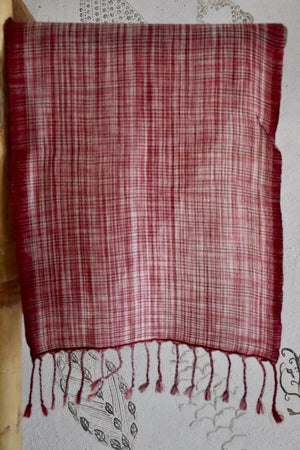 Handwoven, Naturally Dyed Pure Wool Scarf - Red