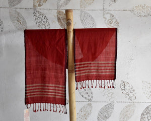 Handwoven, Naturally Dyed Pure Wool Scarf - Red and Cream