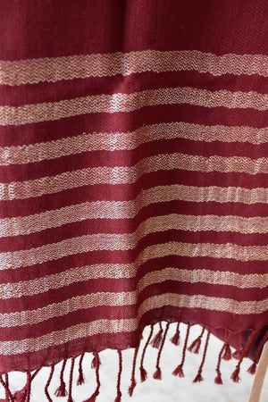 Handwoven, Naturally Dyed Pure Wool Shawl - Red with Cream Stripes