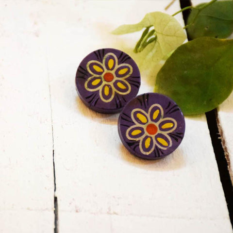 Purple Phool Earrings Handcrafted by Women Artisans of Varanasi