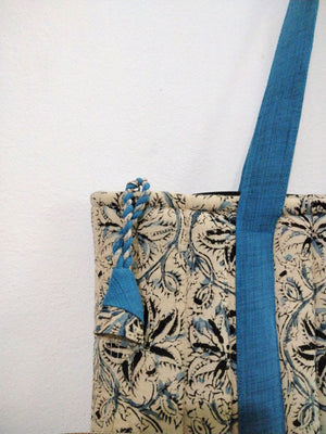 Quilted laptop bag (blue)- Created by Women artisans from Hyderabad