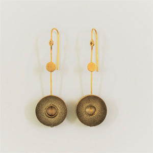 Rhea Handcrafted Gold Earrings (RG-3) in Bamboo and Gold-plated Brass