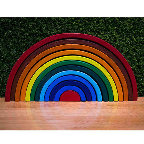 Handcarved Wooden Rainbow Stacking Puzzle - Set of 12