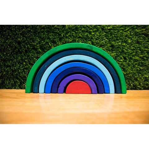 Handcarved Wooden Rainbow Stacking Puzzle - Set of 7