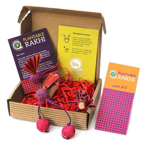 Eco-Friendly Rakhi Box Set with 2 Adult Plantable Seed Rakhis and 1 Plantable Seed Lumba