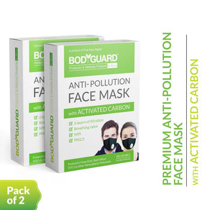 Bodyguard Reusable Anti-Pollution Face Mask with Activated Carbon, N99 + PM2.5 for Men and Women - Medium