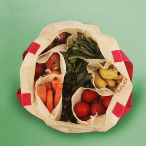 Veggie Shopping Bag and Organiser with 6 In-Built Pockets (Cotton)
