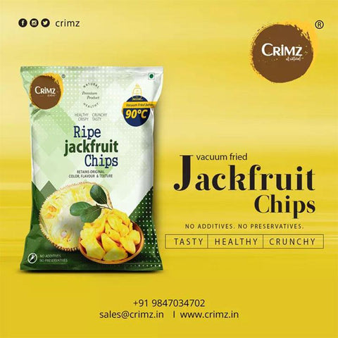 Vacuum Fried Ripe Jack Fruit Chips  (Pack of 3), 60g