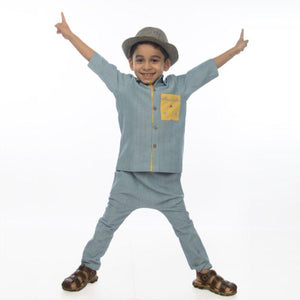 River Blue Drop Crotch Boy's Pants made of Organic Cotton