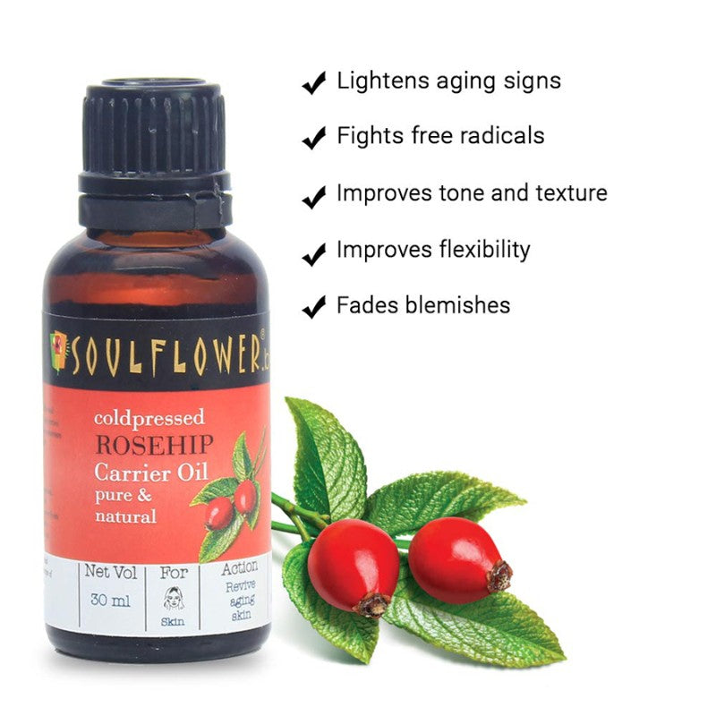 Soulflower Rosehip Oil for Wrinkles and Fine Lines, 30ml