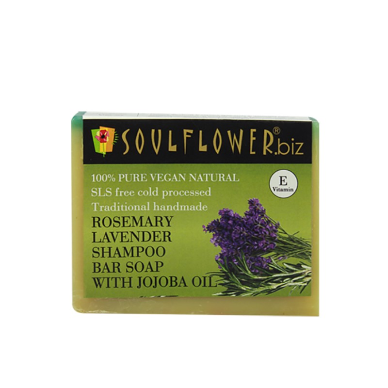 Soulflower Shampoo Bar, Rosemary Lavender and Jojoba, 150g