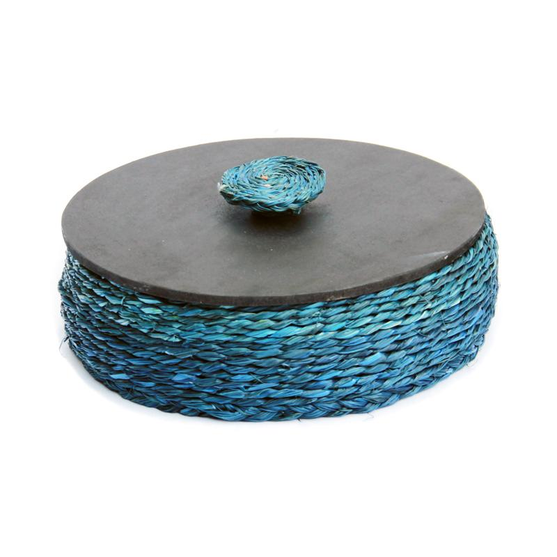 Handcrafted Natural Fibre Roti Box With Wooden Lid - Blue