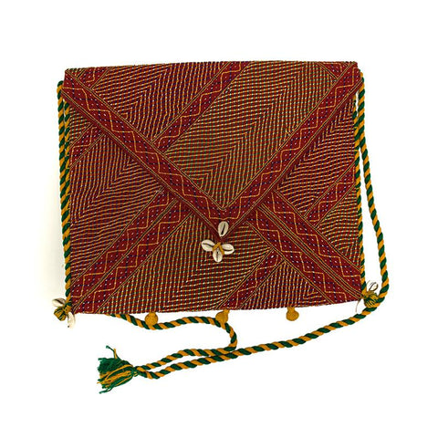 Sling Bag with Lambani Hand-Embroidery - Red (SB-10)
