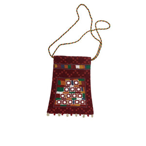 Mirror Embellished Sling Bag with Lambani Hand-Embroidery - Red (SB-4)
