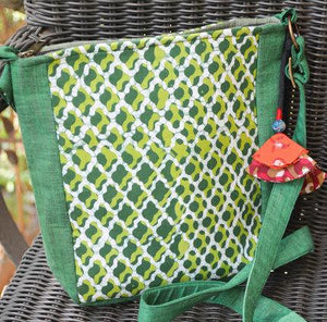 Cotton Sling Bag - Green and White