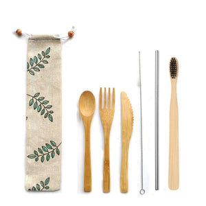 Zero Waste Traveller Kit (Bamboo Cutlery, Bamboo Toothbrush and Steel Straw)