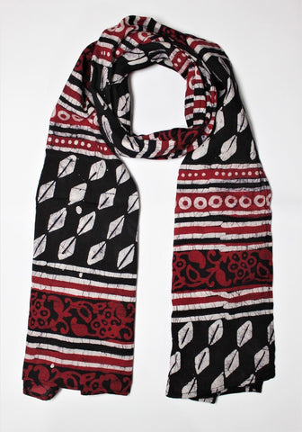 Cotton Mul HandBlock Printed Batik Stole - Black and Red (COSTHOBO-BLRE)