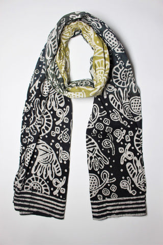 Cotton Mul HandBlock Printed Batik Stole - Black and Green (COSTSHHP-BLGR)