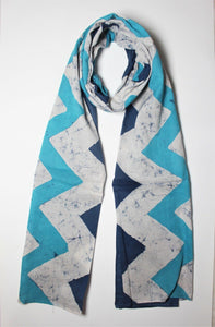 Cotton Mul HandBlock Printed Batik Stole - Blue and White (COSTZGZG-BLWH)