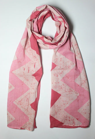 Cotton Mul HandBlock Printed Batik Stole - Pink and White (COSTZGZG-PKWH)