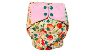 Reusable, Supersoft Cover Diaper 'Easy Tabs' with 1 Dry-Feel Organic Cotton Soaker (Inserts) - Fruit Burst