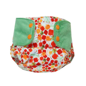 Reusable, Supersoft Cover Diaper 'Easy Tabs' with 1 Dry-Feel Organic Cotton Soaker (Inserts) - Gulmohar
