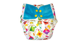 Reusable, Supersoft Cover Diaper 'Easy Tabs' with 1 Dry-Feel Organic Cotton Soaker (Inserts) - Coloured Skies